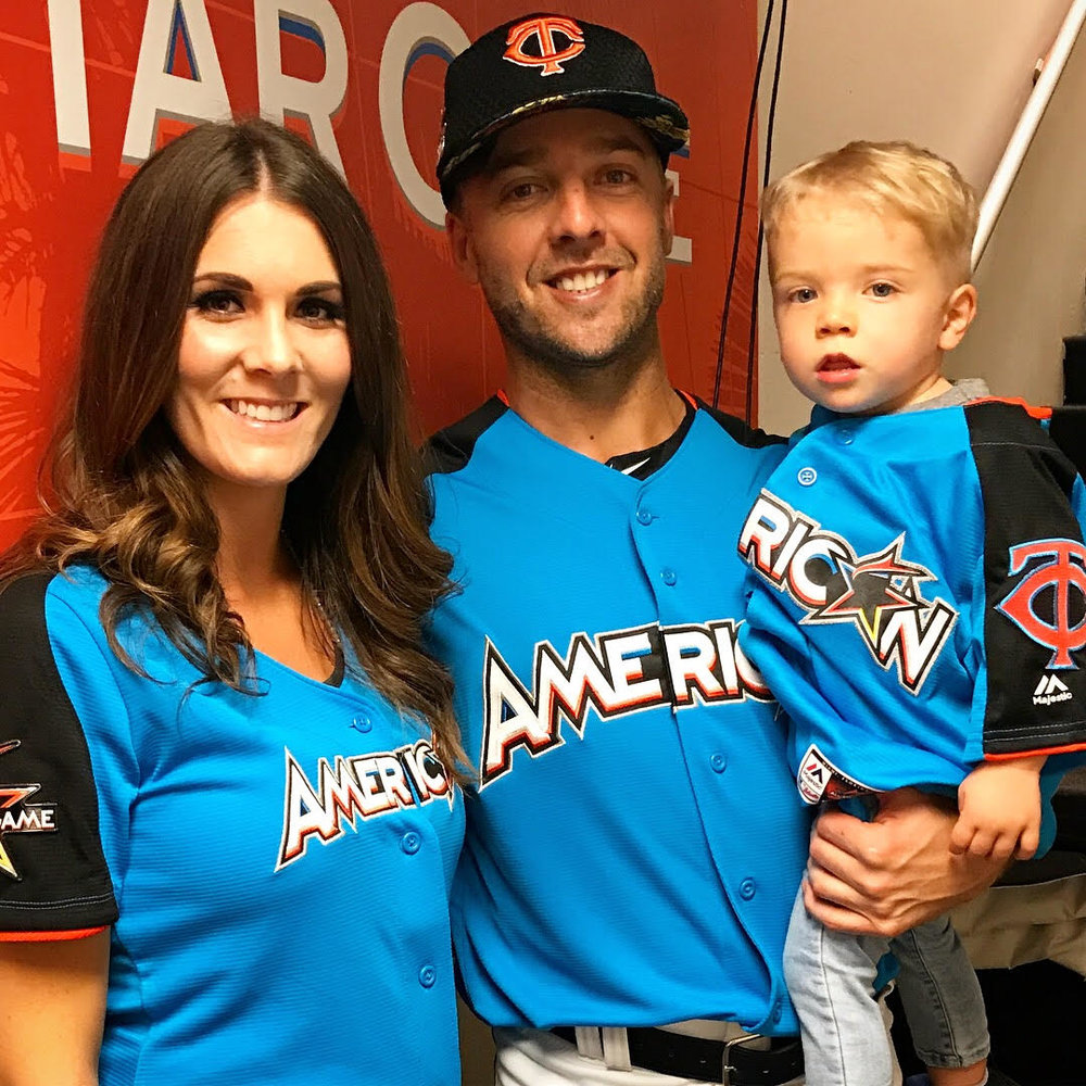 Melissa and Brandon Kintzler, Minnesota Twins all-star reliever, along with their son Knox, 20 months old, in Miami. Melissa, from Macdonald, Man., met Brandon when he was with the Winnipeg Goldeyes, they wed in 2012. And Knox is eligible for the World Baseball Classic.