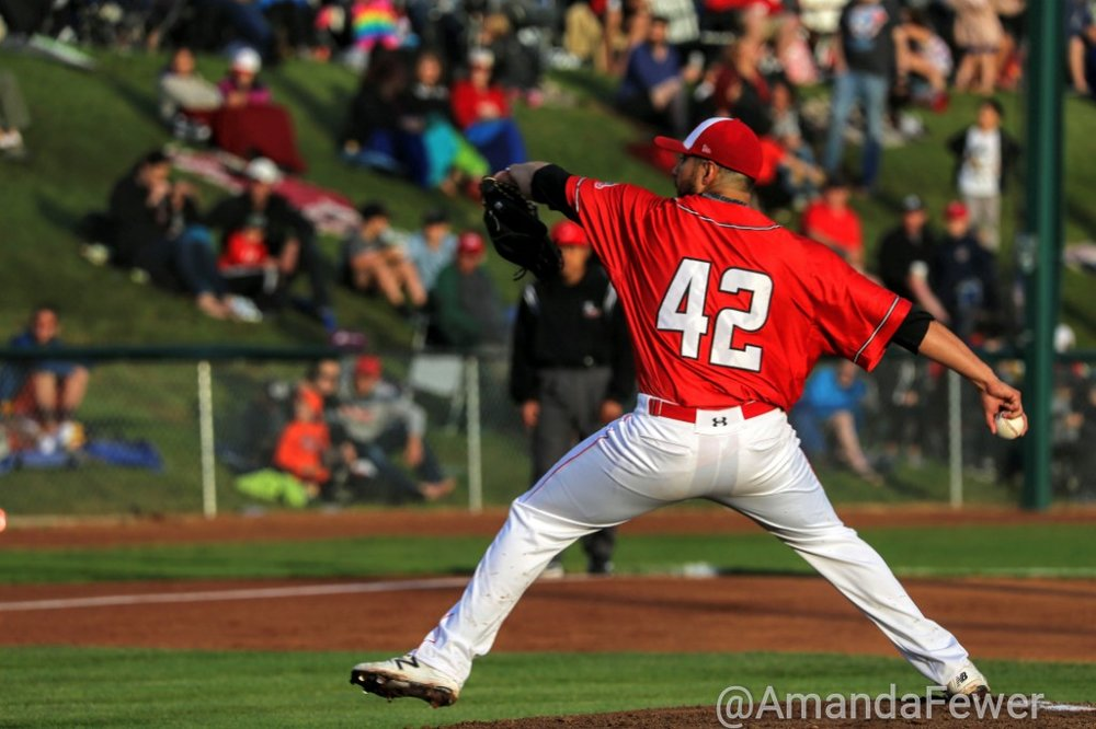 Right-hander Anthony Balderas struck out nine batters and pitched eight scoreless innings on Tuesday to lead the Okotoks Dawgs to a 6-0 win over the Lethbridge Bulls. Photo Credit: Amanda Fewer