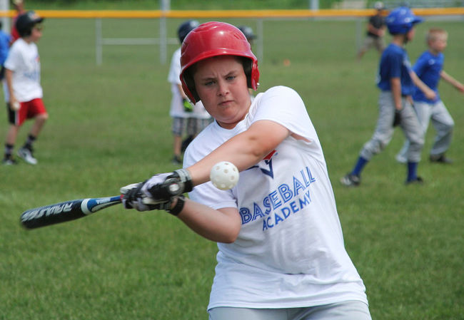 Mitchell Crowley, 12, swings during a Honda Instructional clinic conducted by the Blue Jays Baseball Academy at Trent Sports Fields in Peterborough. Photo: Jessica Nyznik, Peterborough Examiner: