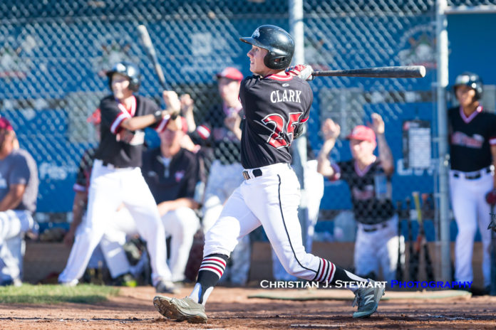 Dawson Clark crushed a three-run home run in the top of the sixth inning to give the Victoria Eagles a 5-4 lead over the Twins. The Twins, however, would come back and win 6-5 in walk-off fashion. Photo Credit: Christian J. Stewart / ISN