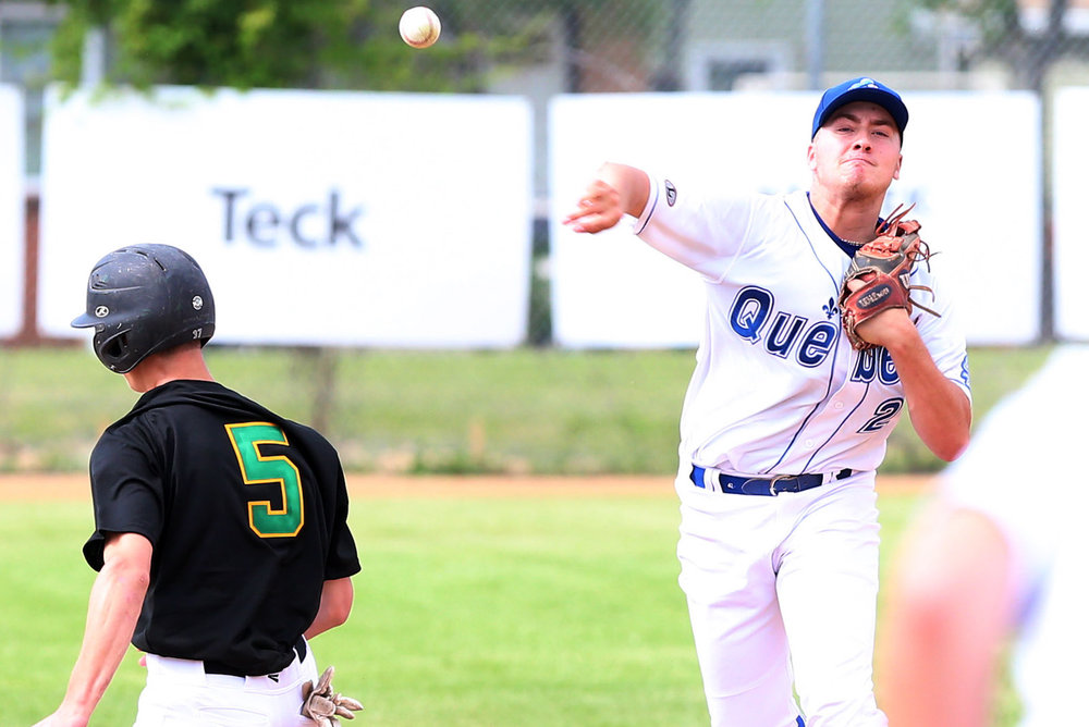 Quebec defeated Saskatchewan 7-2 and lost 8-5 to B.C. on Day 1 of the Canada Games in Winnipeg. Photo Credit: Baseball Canada