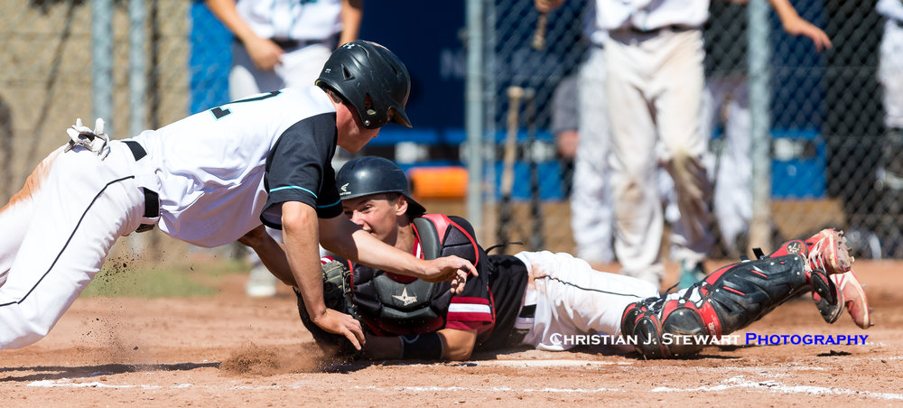 White Rock base runner Michael Gillon would initially avoid the tag of Victoria Eagles catcher Jayden Cull (top), but slide past the plate, only to be tagged out by Cull as he tried to dive back to the plate (bottom) (Photo: Christian J. Stewart / ISN)