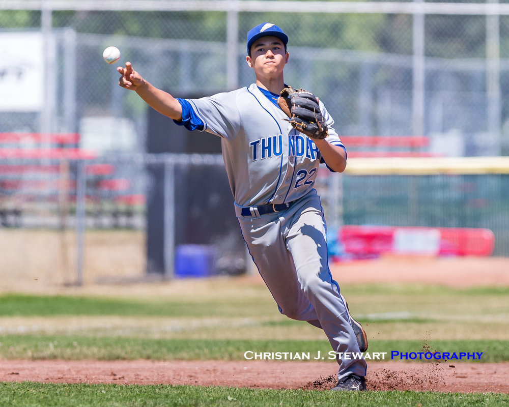 Thunder third baseman Christian Raytek makes a throw to first during the Thunder's game with White Rock on Friday (Photo: Christian J. Stewart / ISN)