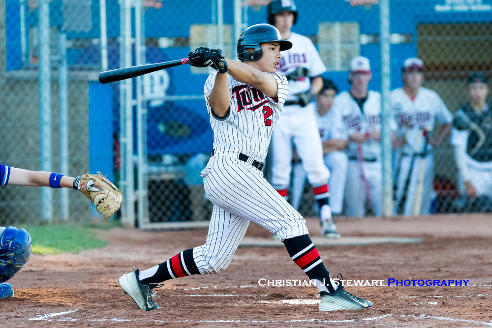 North Shore's Dylan Moore had a pair of hits and an RBI early to help jump start the Twins offence (Photo: Christian J. Stewart / ISN)