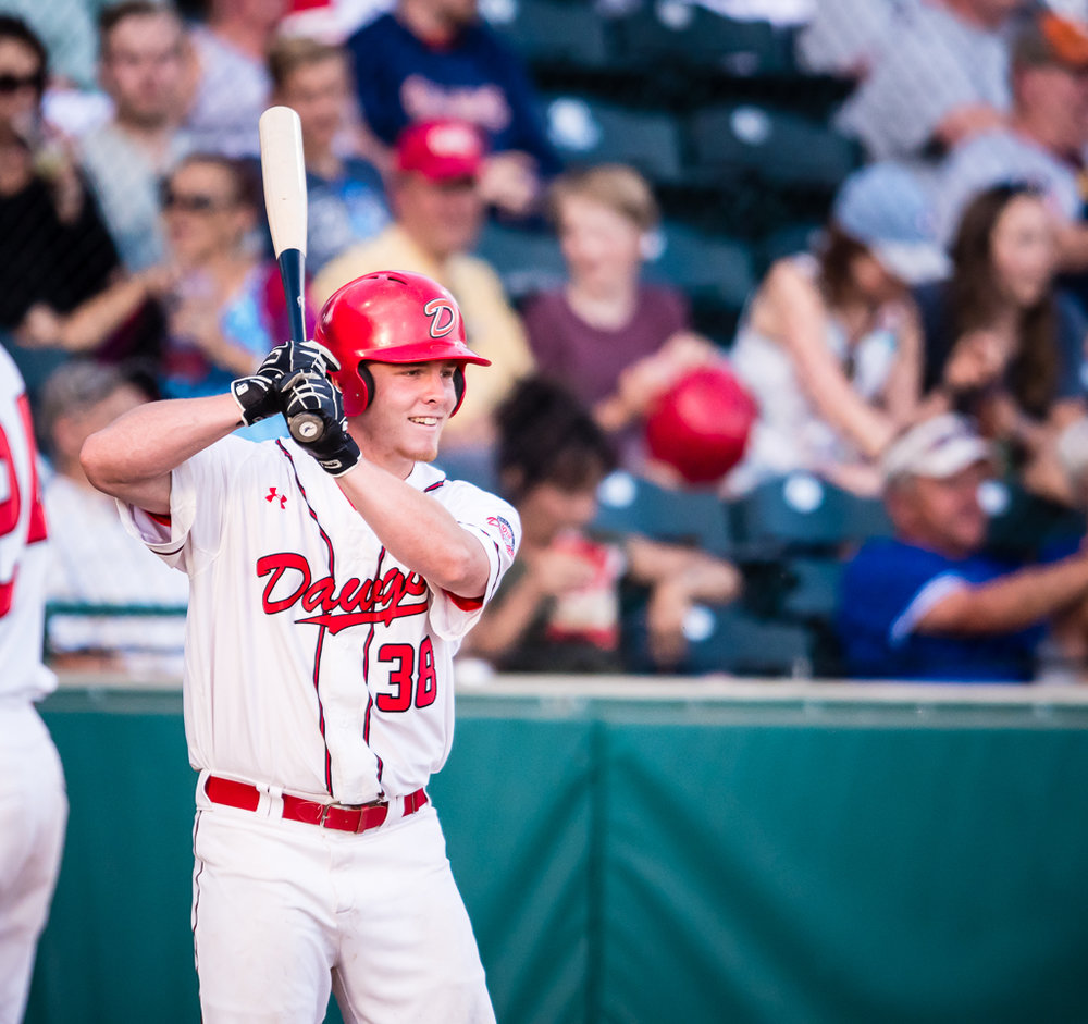 Cameron Campbell had his sixth multi-hit game of the season for the Okotoks Dawgs on Saturday, registering three hits and driving in three to push his season batting average over .300. Photo Credit: Angela Burger