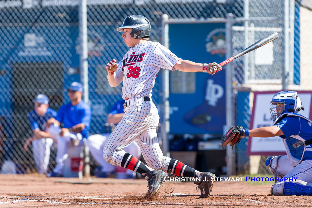 The Twins Gareth Wintjes was one of four players to have a two-hit day in the championship against UBC (Photo: Christian J. Stewart / ISN)