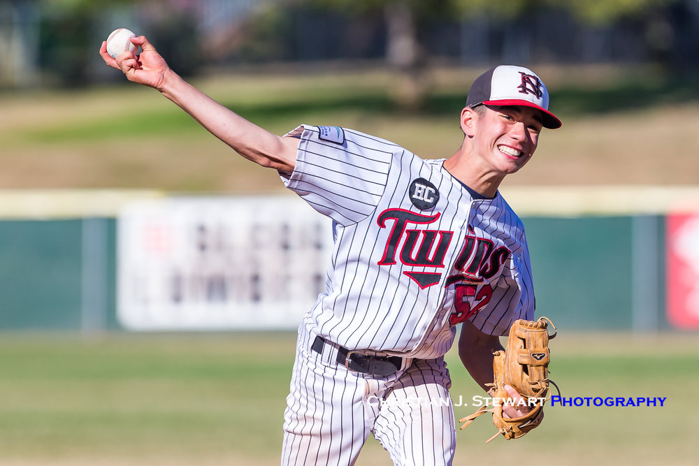 Twins closer Sam Van Snellenberg shut the Thunder down over the final two innings to close out the 7-5 win for North Shore (Photo: Christian J. Stewart / ISN)