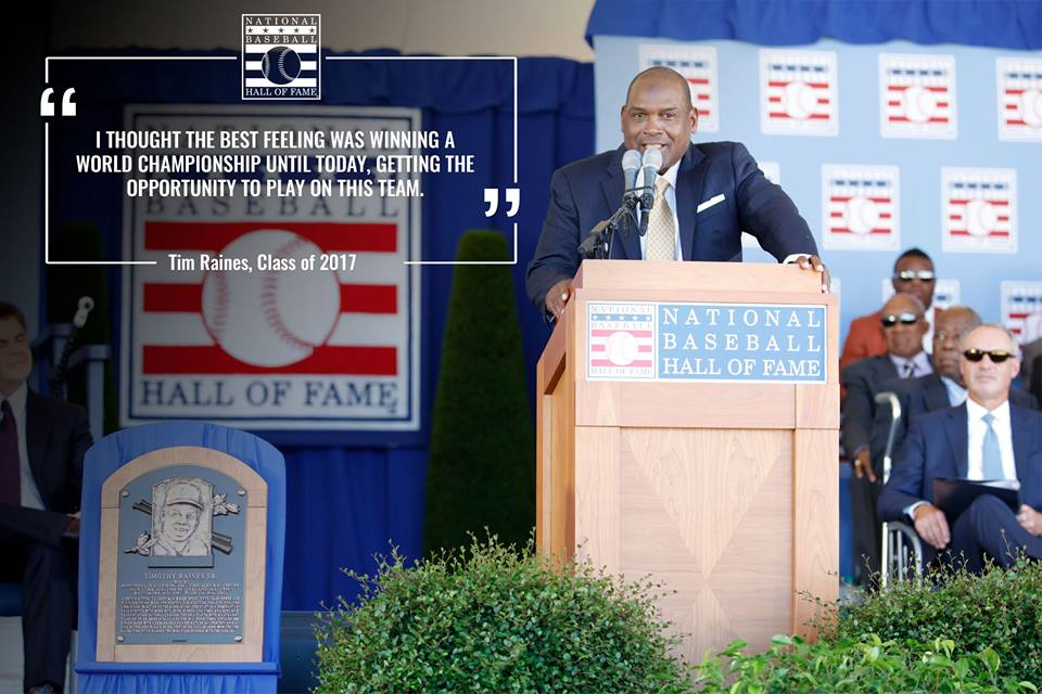Tim Raines gives his induction speech from the stage in Cooperstown on Sunday. Photo Credit: Milo Stewart Jr.