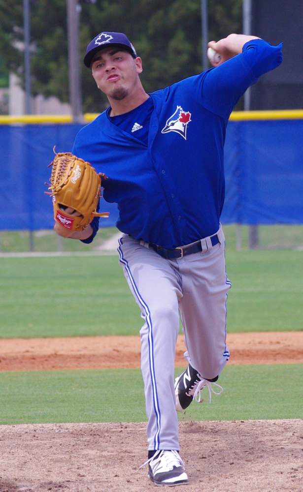 Left-hander Tayler Saucedo allowed just one run in six innings while striking out eight to lead the class-A Advanced Dunedin Blue Jays to a 4-1 win over the Florida Fire Frogs on Tuesday. Photo Credit: Jay Blue
