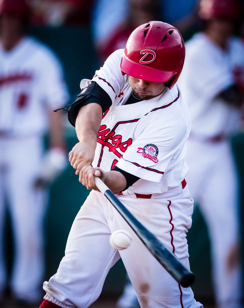 Eddie Sanchez had three hits for the Okotoks Dawgs on Wednesday in the club's 2-1 loss. Photo Credit: Angela Burger