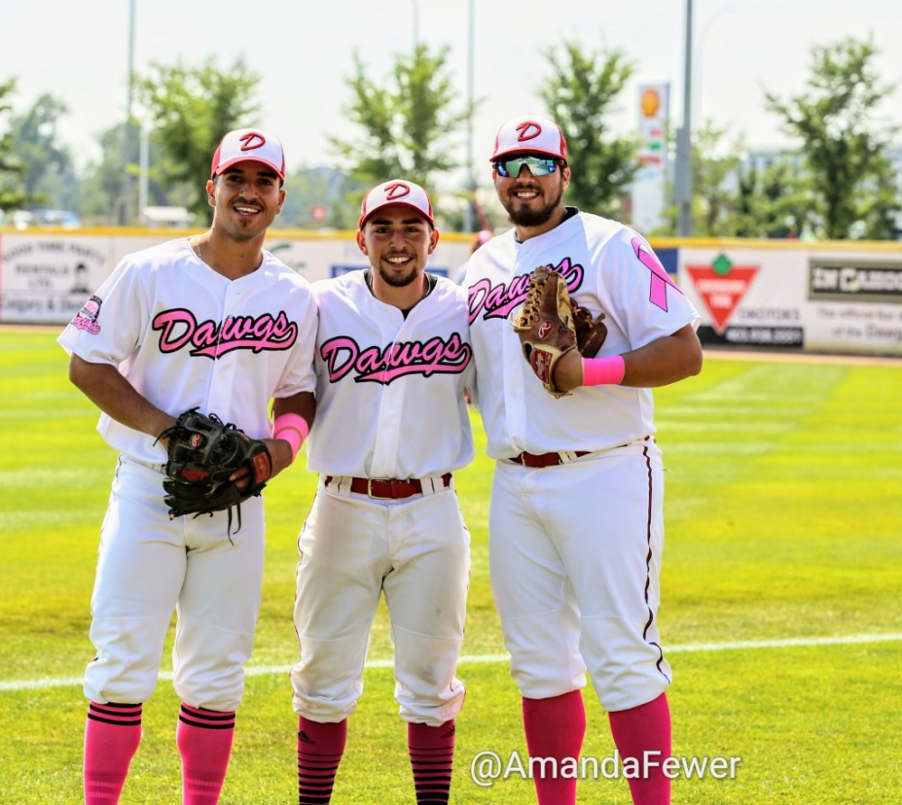 INF Aderly Perez of Arkansas Pine Bluff, INF Eddie Sanchez, Central Arkansas and RHP Omar Celaya Nyack College from the front ...