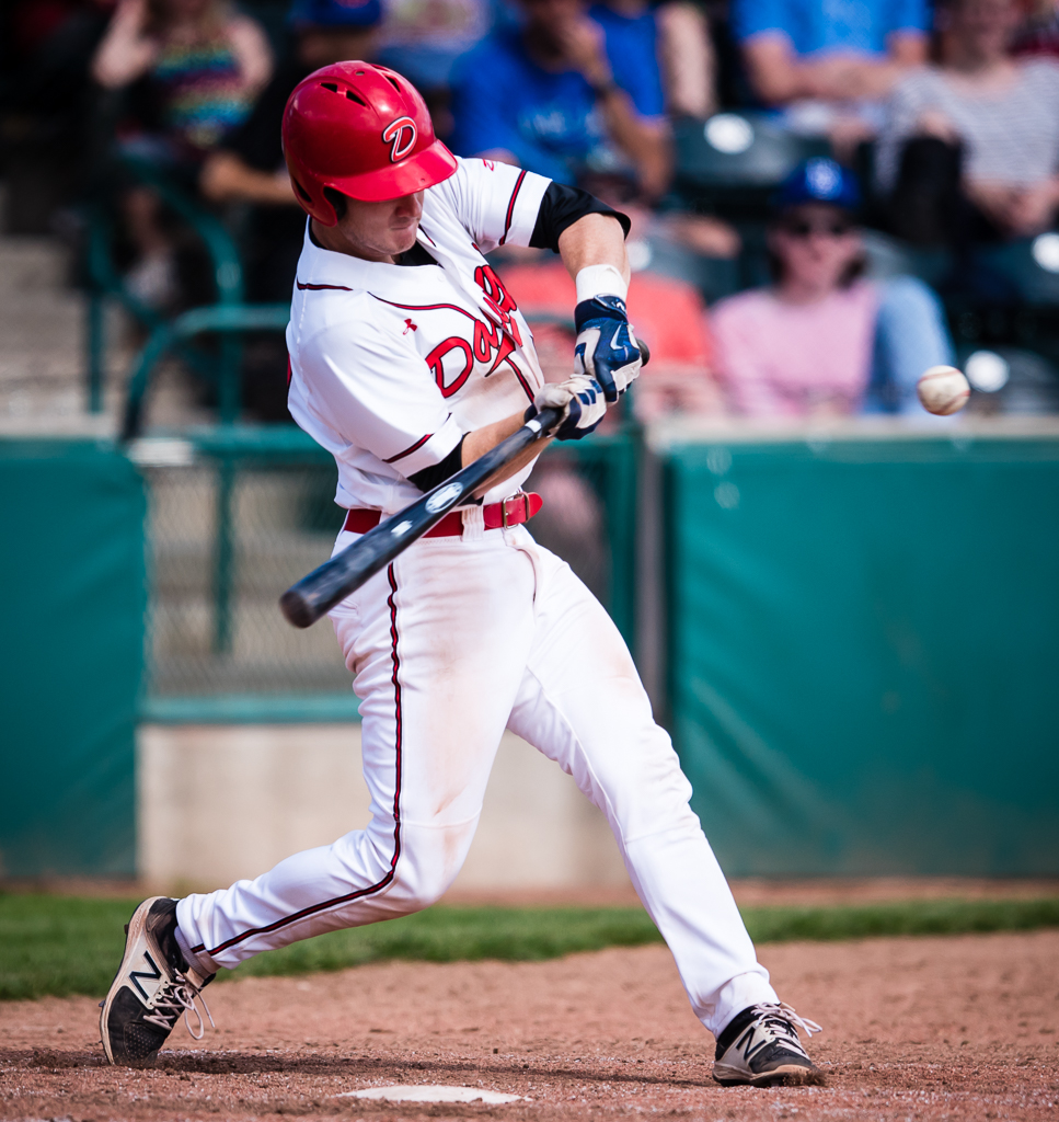 Catcher Joel Brophy belted a three-run home run on Thursday to help lead the Okotoks Dawgs to an 11-1 win over the Edmonton Prospects. Photo Credit: Angela Burger