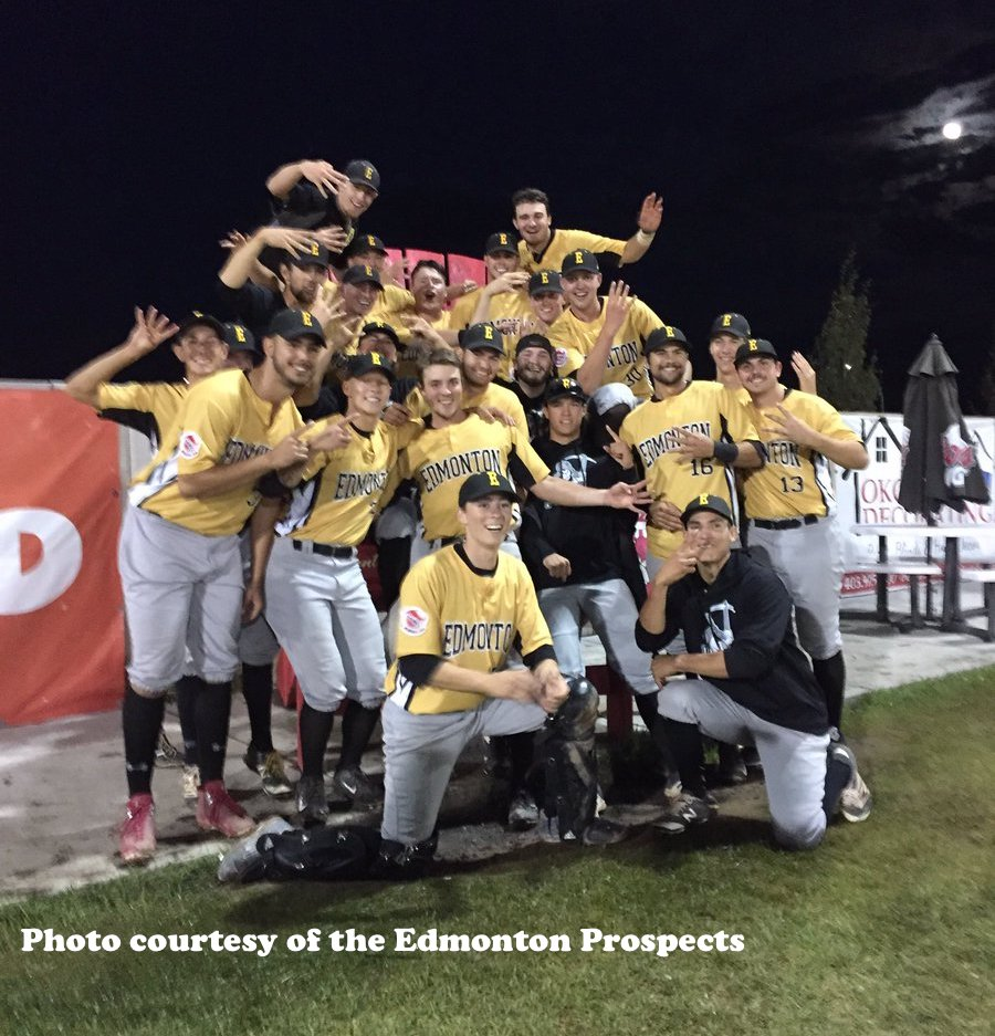 The Edmonton Prpspects celebrate after upsetting the Okotoks Dawgs in the first round of the WMBL playoffs. Photo Credit: Edmonton Prospects