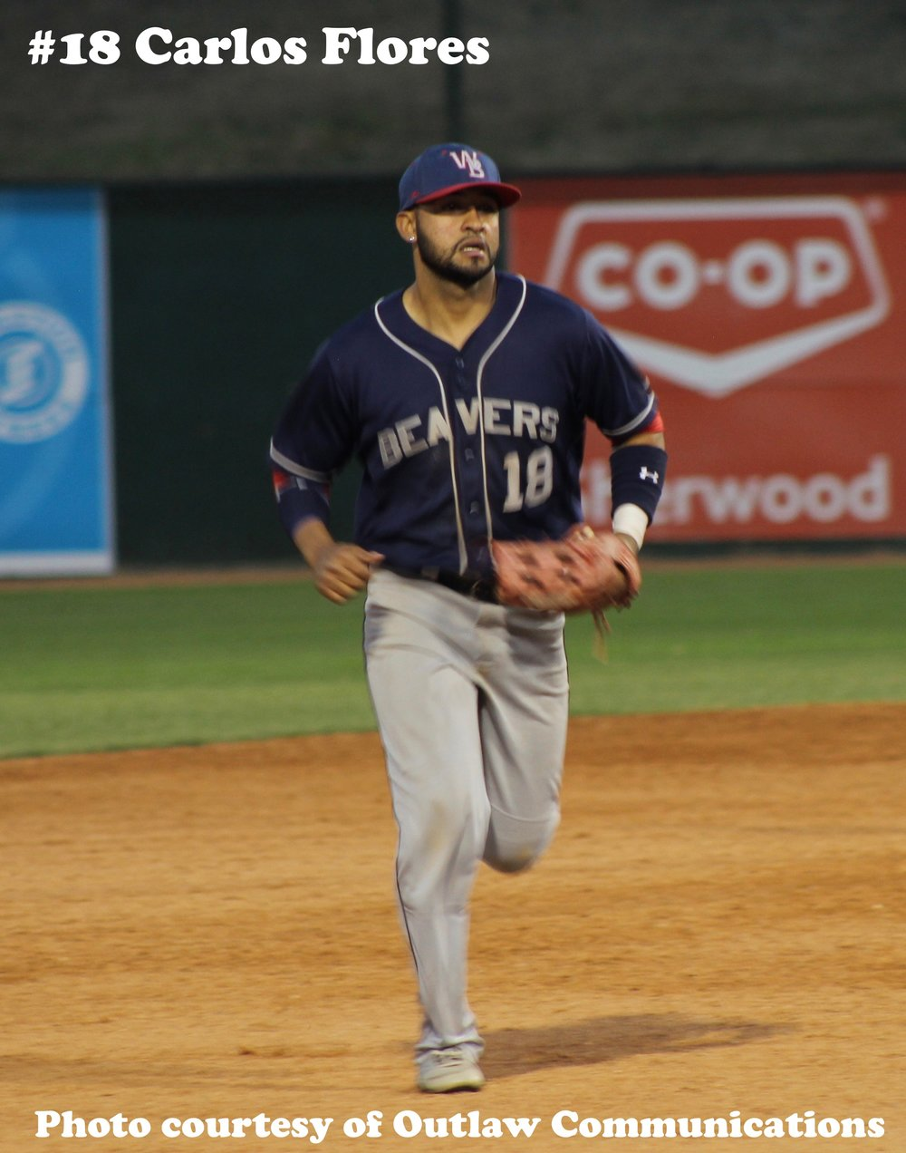 Weyburn Beavers outfielder Carlos Flores has been named WMBL Player of the Week. Photo Credit: Outlaw Communications