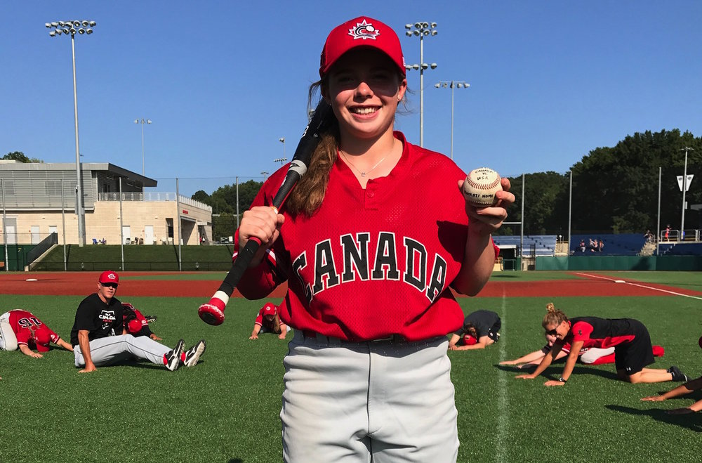 Madison Willan (Edmonton, Alta.) made history on Wednesday when she became the first player in Women's National Team history to hit an out of the park home run. Photo Credit: Baseball Canada