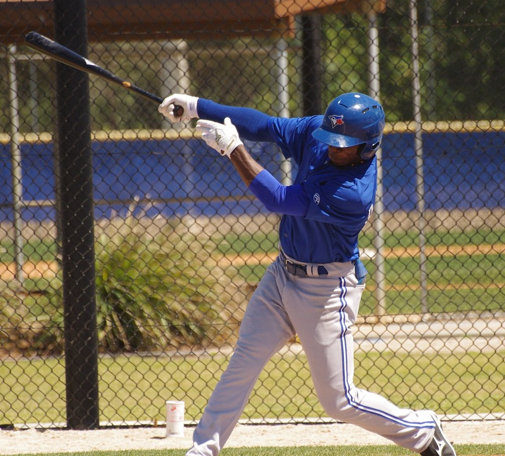 D.J. Davis went 3-for-4 with two walks, a double, a home run, four RBI, four runs and a stolen base to help lead the class-A Advanced Dunedin Blue Jays to a 16-8 win on Wednesday. Photo Credit: Jay Blue