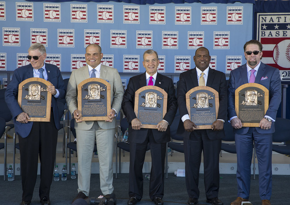 The 2017 National Baseball Hall of Fame inductee class. Photo Credit: Milo Stewart Jr., National Baseball Hall of Fame & Museum.