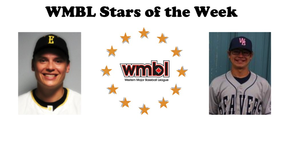 Edmonton Prospects hurler Erik Sabrowski (left) and Weyburn Beavers infielder Zach Mathis (right) were named WMBL Stars of the Week on Sunday. Photo Credit: Outlaw Communications