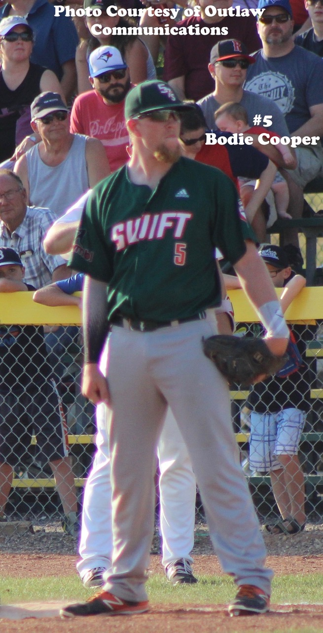Bodie Cooper of the Swift Current 57's had three hits and four RBI on Sunday to help lead the Swift Current 57's to a 13-7 over the Edmonton Prospects in Game 1 of the WMBL Championship Series. Photo Credit: Outlaw Communications