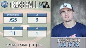 OF Jonathan Lacroix (Montreal, Que.) of the the Seminole State Indians.