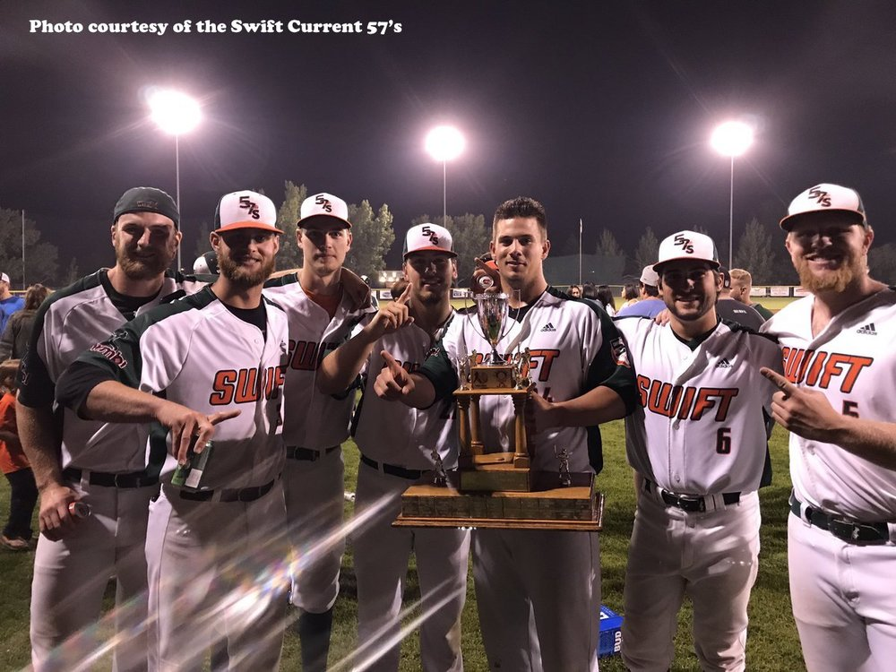 The Swift Current 57's defeated the Edmonton Prospects 4-0 on Thursday to repeat as WMBL champions. Photo Credit: Swift Current 57's