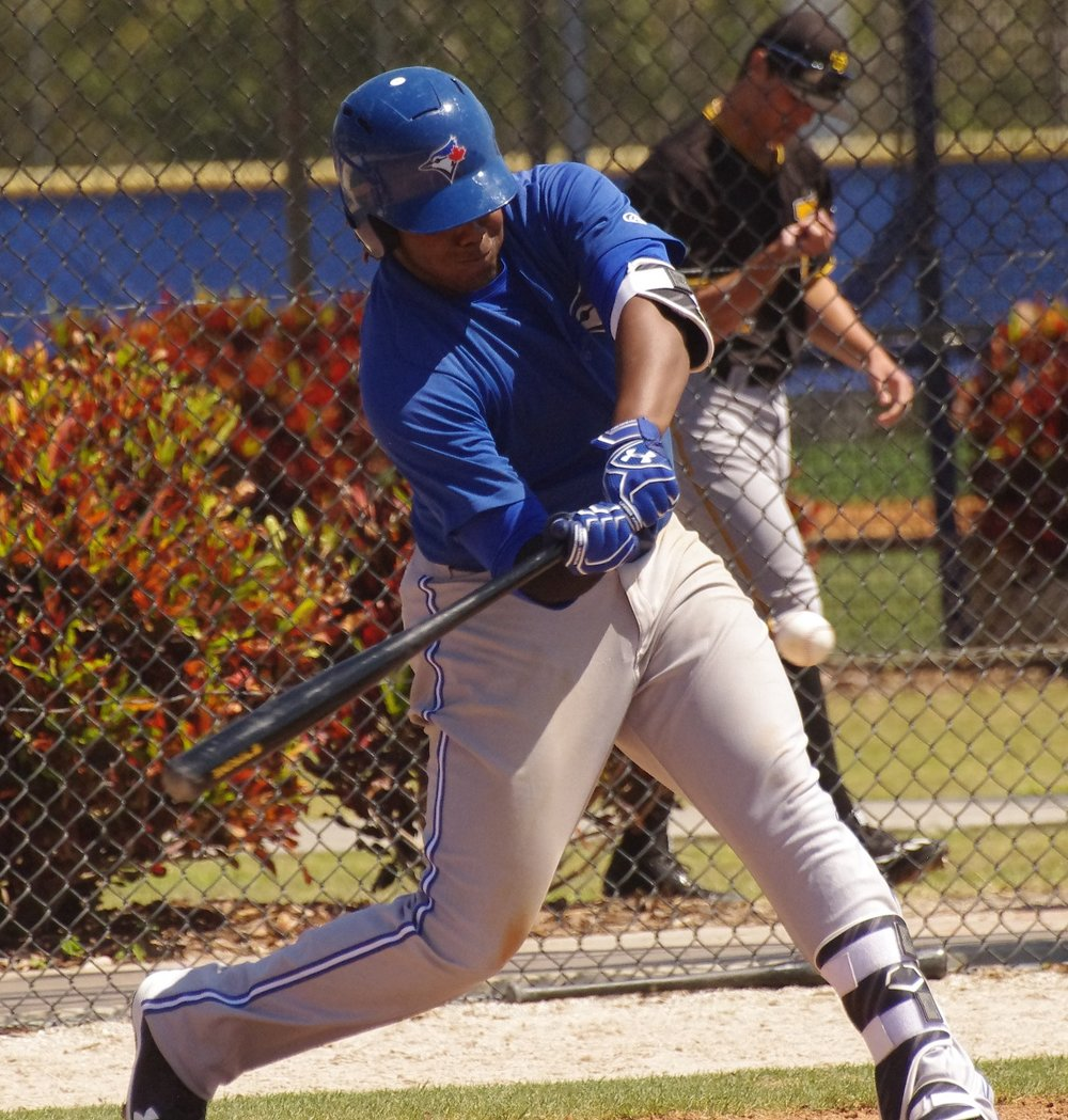 On Saturday, Vladimir Guerrero Jr. (Montreal, Que) homered for the class-A Advanced Dunedin Blue Jays for the third straight game. Photo Credit: Jay Blue