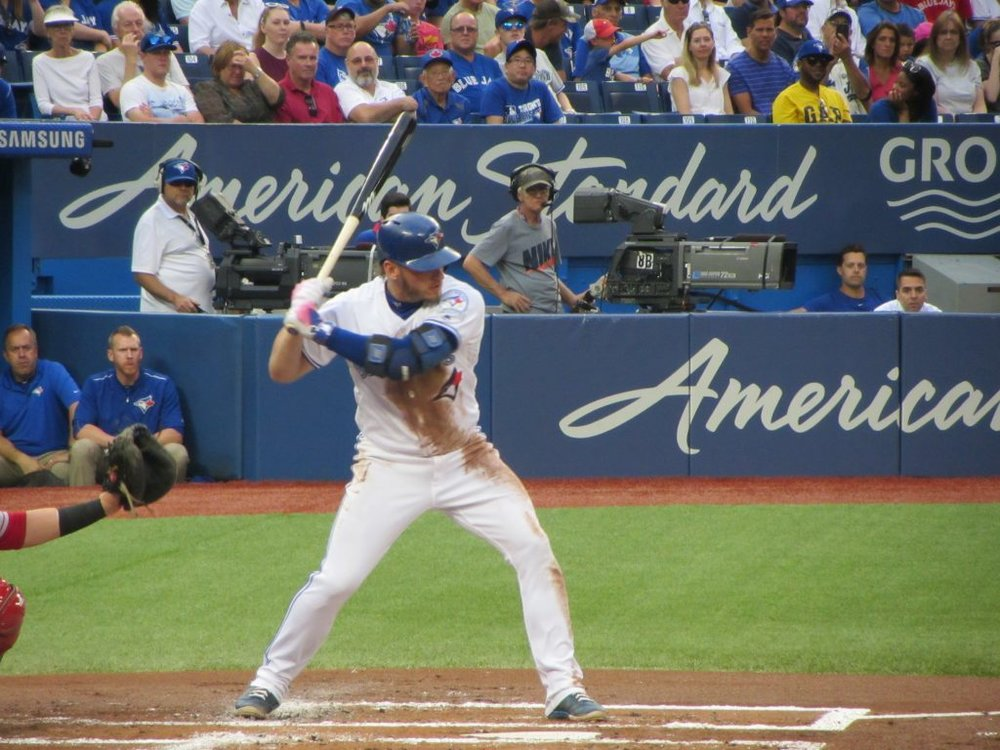 Josh Donaldson was 8-for-13 (.615 batting average) with four home runs in the Toronto Blue Jays' four-game series against the Tampa Bay Rays from August 14 to 17.
