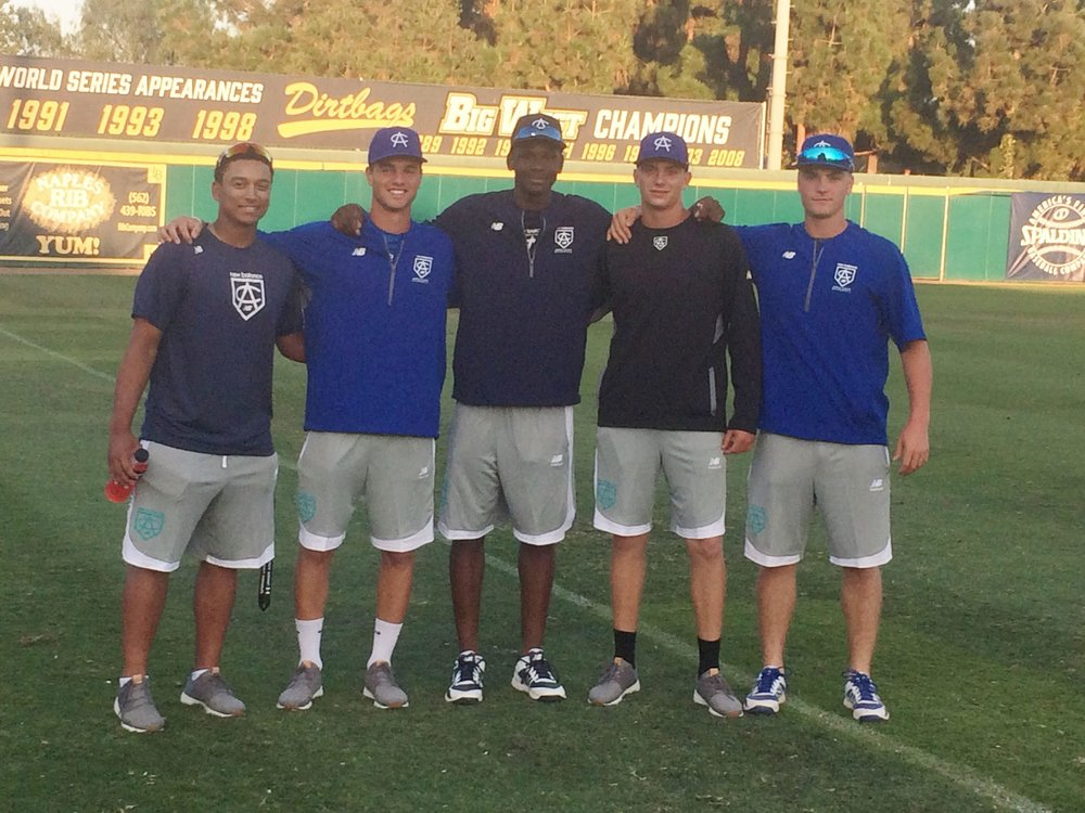 "Five Canucks received invites to the annual Area Code Games in Long Beach earlier this month. From left-to-right, they are: C Noah ""Bo"" Naylor (Mississauga, Ont.), OF Damiano Palmegiani (Surrey, BC), Denzel Clarke (Pickering, Ont..) RHP David Rhodes (Langley, BC) and RHP Tate Dearing (WHite Rock, BC)."