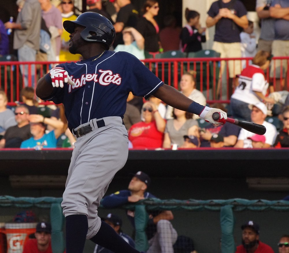 Anthony Alford was 3-for-5 with three runs and two stolen bases on Tuesday to help lead the double-A New Hampshire Fisher Cats to an 8-4 win. Photo Credit: Jay Blue