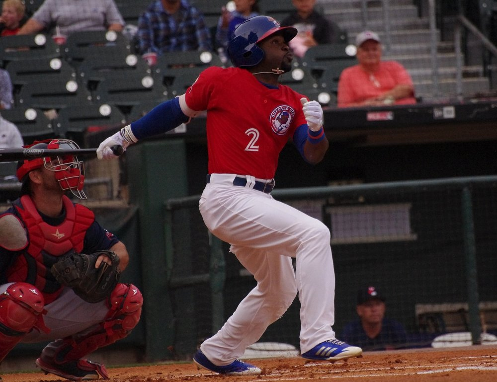 Dwight Smith Jr. was on base four times for the triple-A Buffalo Bisons on Wednesday, going 2-for-4 with two walks, an RBI, two runs and a stolen base. Photo Credit: Jay Blue