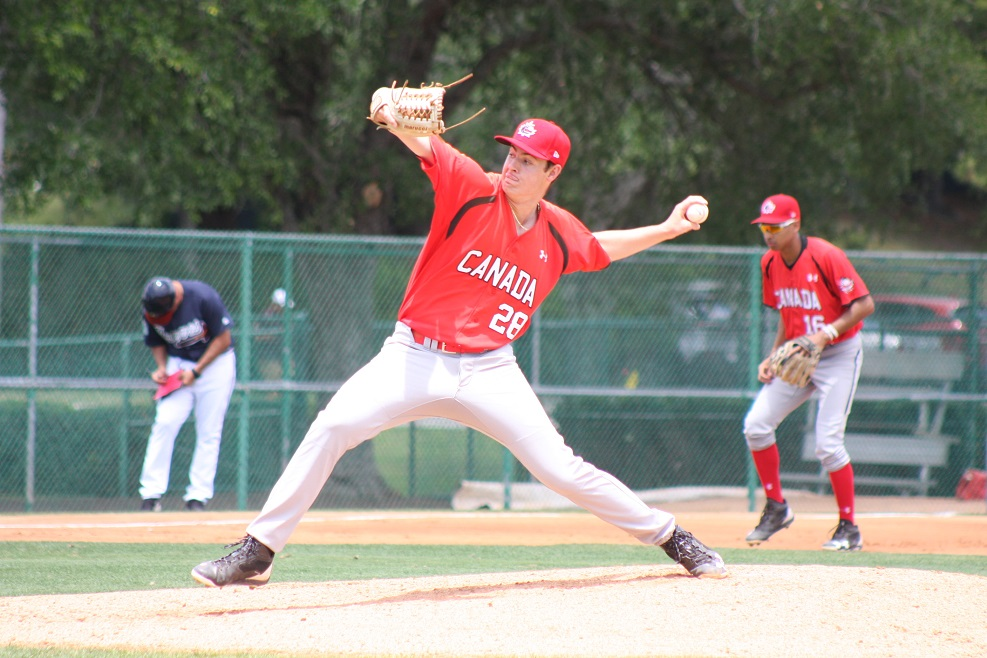 North Shore Twins grad Jack DeCooman (Vancouver, B.C.) will start for Canada against Australia in the U18 Baseball World Cup in Thunder Bay, Ont., on Tuesday night. Photo Credit: Baseball Canada