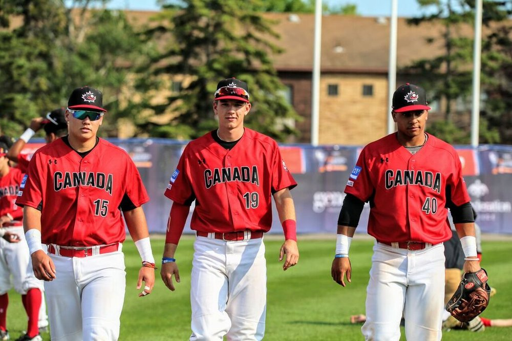 C Archer Brookman (Pointe-Claire Que.)left to right, INF Jason Willow (Victoria, BC) and OF Clayton Keyes (Calgary, Alta.).