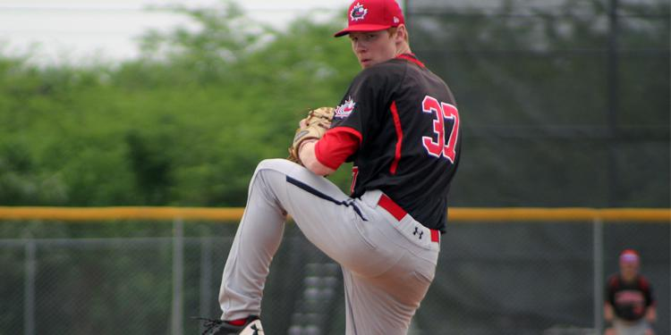 Great Lake Canadians grad Eric Cerantola (Oakville, Ont.) will start for Canada against the U.S. in their super round opener at the U18 Baseball World Cup in Thunder Bay, Ont., on Thursday. Photo Credit: Baseball Canada