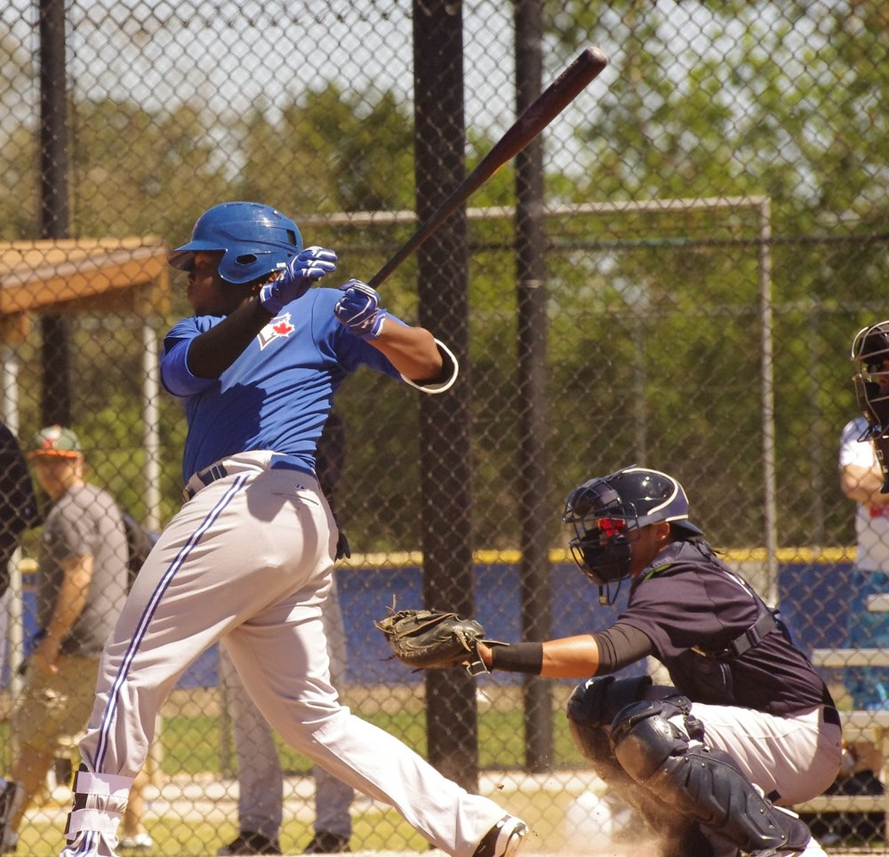 Vladimir Guerrero Jr. (Montreal, Que.) was 3-for-4 with a home run for the class-A Dunedin Blue Jays in the first game of the club's playoff doubleheader on Wednesday. Photo Credit: Jay Blue