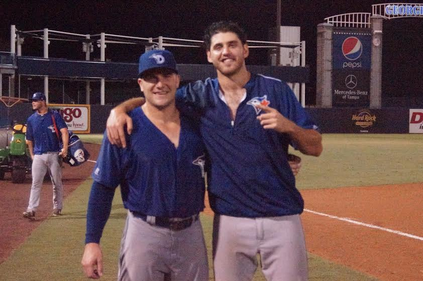 Connor Panas (Etobicoke, Ont.) and RHP Jordan Romano (Markham, Ont.) were part of the Dunedin Blue Jays who won the class-A Florida State League co-championship. Panas hit two solo homers in Game 3, while Romano won Game 2. Photos: Eddie Michels.