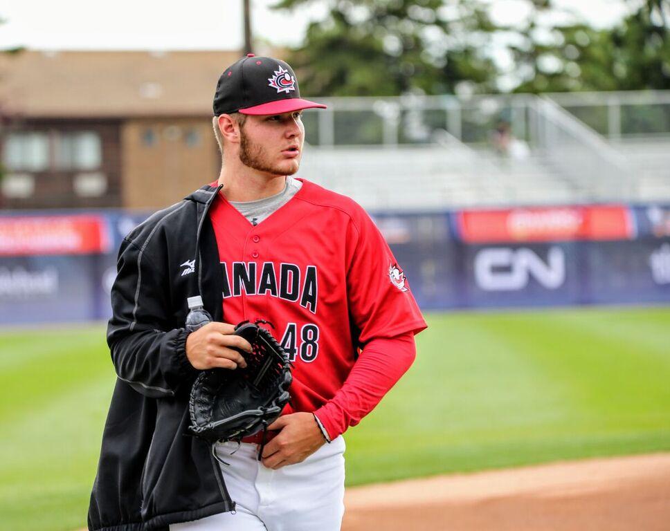 Minnesota Twins RHP Landon Leach (Pickering, Ont.) a Toronto Mets grad before his staart against Korea.