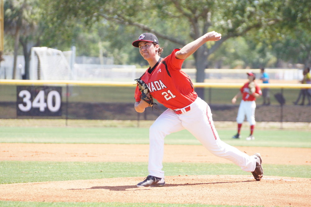 Normally a starter, Ontario Blue Jays lefty Harley Gollert (Toronto, Ont.) has been a key reliever for Canada at the U18 Baseball World Cup in Thunder Bay, Ont. Photo Credit: Baseball Canada