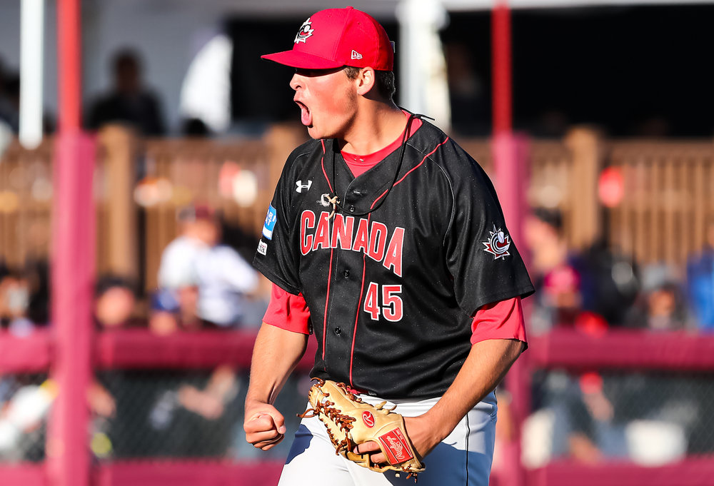 Ontario Terriers RHP Ben Abram (Georgetown, Ont.) started and allowed two runs in 4-2/3 innings for Canada in their 6-4 upset win over Japan at the U18 Baseball World Cup in Thunder Bay, Ont., on Friday. Photo Credit: WBSC/Christian J. Stewart