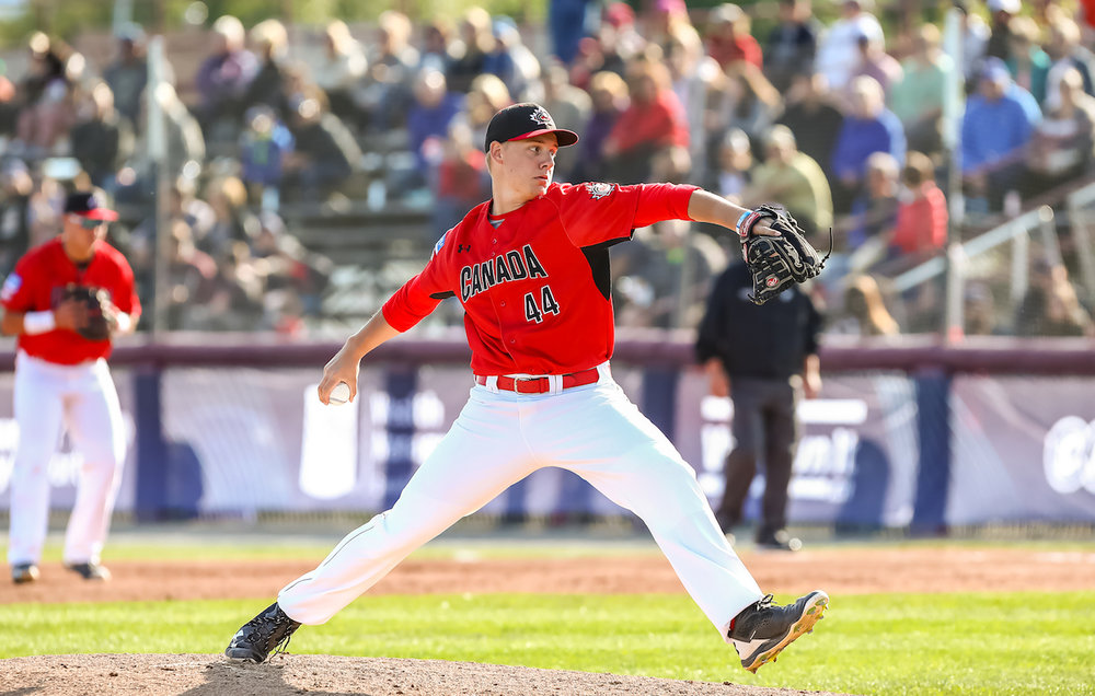 Right-hander Michael Stovman (Victoria, B.C.) allowed just two runs in eight innings to lead Canada to a 4-2 win over Cuba on Saturday at the U18 World Cup in Thunder Bay, Ont. Photo Credit: WBSC/Christian J. Stewart