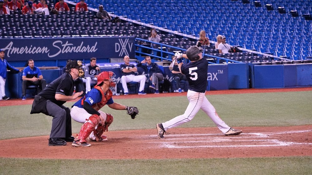 Etobicoke, Ont., native Noah Case drove in the go-ahead runs for the Futures Navy squad as they beat Quebec Blue 6-4 in Tournament 12's second game at Rogers Centre on Thursday. Photo Credit: David Morassutti.