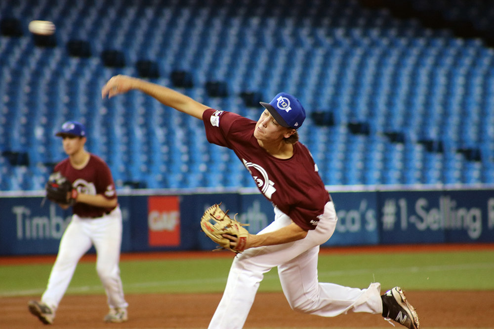 Right-hander Ryan Scott (Quimpasis, N.B.) was the winning pitcher for the Atlantic squad in the fourth game of Tournament 12 at the Rogers Centre on Thursday. Photo Credit: Mike Alessandrini