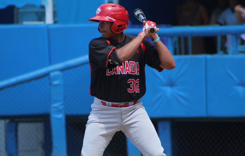 After an eventful summer, top prospect Noah Naylor, of the Ontario Blue Jays, has returned home and is suiting up for Ontario Black in Tournament 12 at Rogers Centre. Photo Credit: Baseball Canada