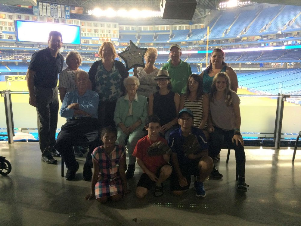 Eric Martin's 15 family members at the Rogers Centre to cheer him on on Friday.