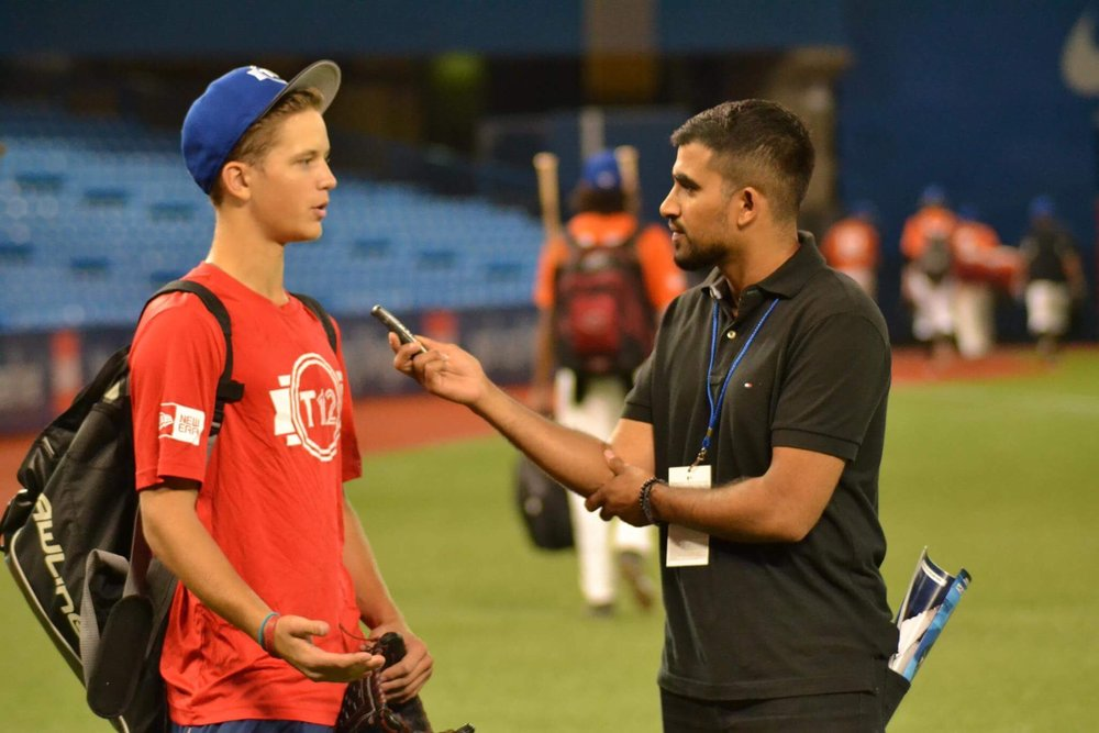 "Stony Plain, Alta., native Adam Macko (left in photo) speaks with reporter              Jaspreet Grewal after his strong mound performance on Friday that saw him        Normal   0           false   false   false     EN-CA   X-NONE   X-NONE                                                                                                                                                                                                                                                                                                                                                                                   /* Style Definitions */  table.MsoNormalTable 	{mso-style-name:""Table Normal""; 	mso-tstyle-rowband-size:0; 	mso-tstyle-colband-size:0; 	mso-style-noshow:yes; 	mso-style-priority:99; 	mso-style-qformat:yes; 	mso-style-parent:""""; 	mso-padding-alt:0cm 5.4pt 0cm 5.4pt; 	mso-para-margin:0cm; 	mso-para-margin-bottom:.0001pt; 	mso-pagination:widow-orphan; 	font-size:11.0pt; 	font-family:""Calibri"",""sans-serif""; 	mso-ascii-font-family:Calibri; 	mso-ascii-theme-font:minor-latin; 	mso-fareast-font-family:""Times New Roman""; 	mso-fareast-theme-font:minor-fareast; 	mso-hansi-font-family:Calibri; 	mso-hansi-theme-font:minor-latin; 	mso-bidi-font-family:""Times New Roman""; 	mso-bidi-theme-font:minor-bidi;}    strike out eight and give up just two hits in five scoreless innings to lead Alberta to a 4-0 victory over B.C. in Tournament 12. Photo Credit: Jaspreet Grewal (Twitter)"