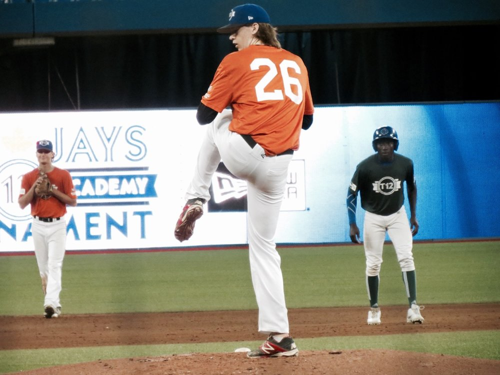 B.C. starter Travis McDougall (Abbotsford, B.C.) struck out seven in four innings and exited Saturday's contest against Ontario Green with his team leading. Photo Credit: Tyler King.