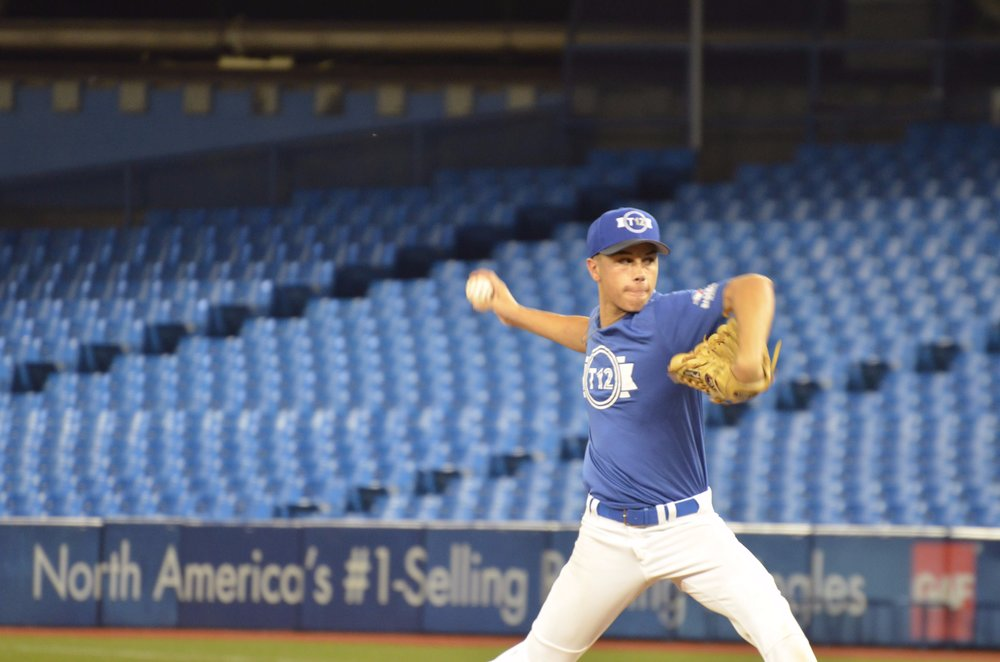 Quebec pitcher Alexis Rioux, of Académie Baseball Canada, went five strong innings against Ontario Black at the Rogers Centre during Tournament 12 round robin play on Saturday. Photo Credit: Jaspreet Grewal/Toronto Observer