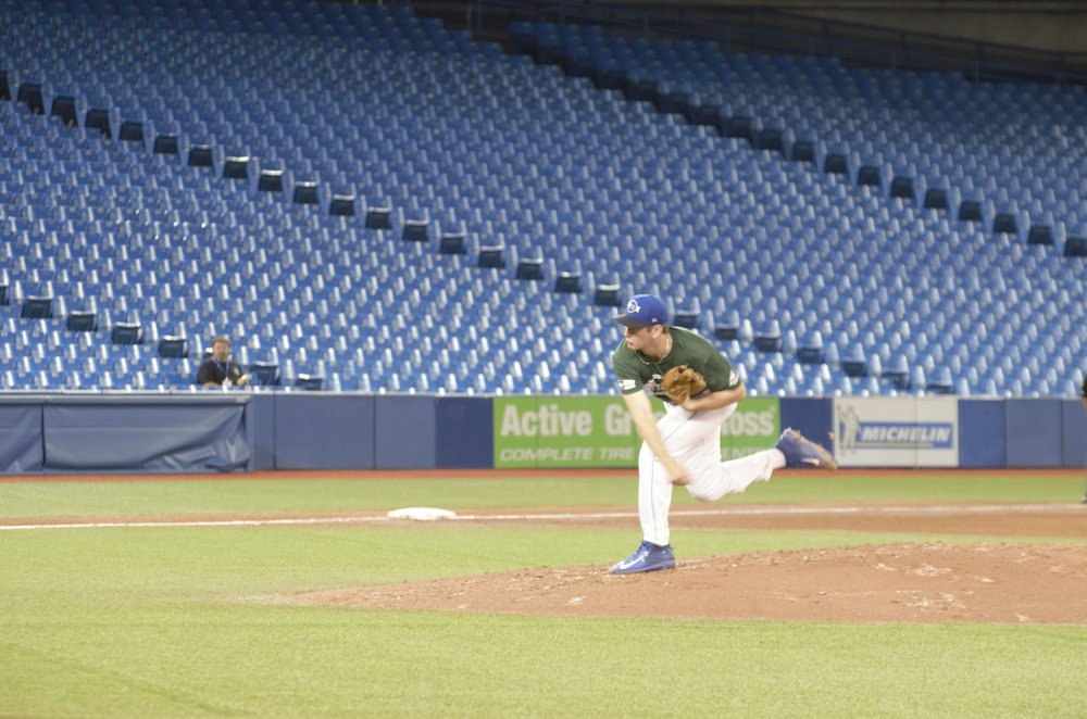 Thomas Murphy, of the Toronto Mets, struck out five in four no-hit innings to lead Ontario Green to a 9-1 victory over Futures Navy on Saturday evening. Photo Credit: Brandon Jodouin.