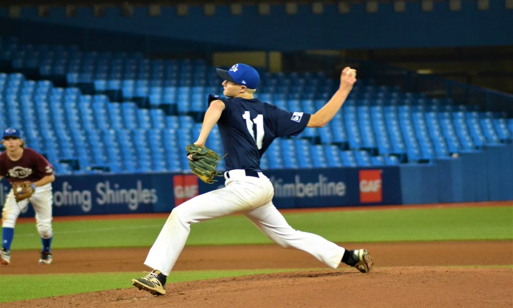 Carter Morris was impressive as a guest starter for Atlantic in their 5-4 victory over Ontario Green at the Rogers Centre on Sunday afternoon. Photo Credit: Jose Taboada