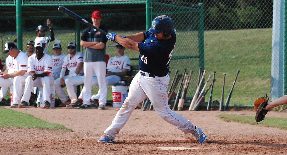 Justin Marra had three RBIs in each of the Humber Hawks' wins on Sunday. Photo Credit: Humber Hawks