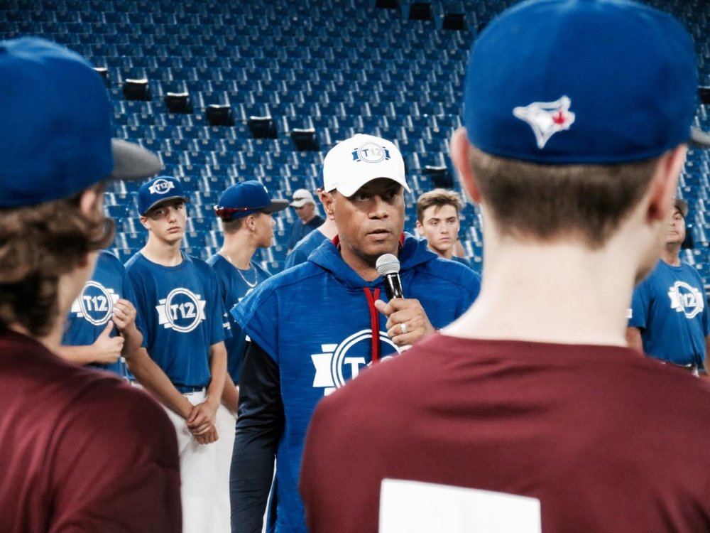 T12 commissioner and Hall of Famer Robbie Alomar spoke to both teams after the game.
